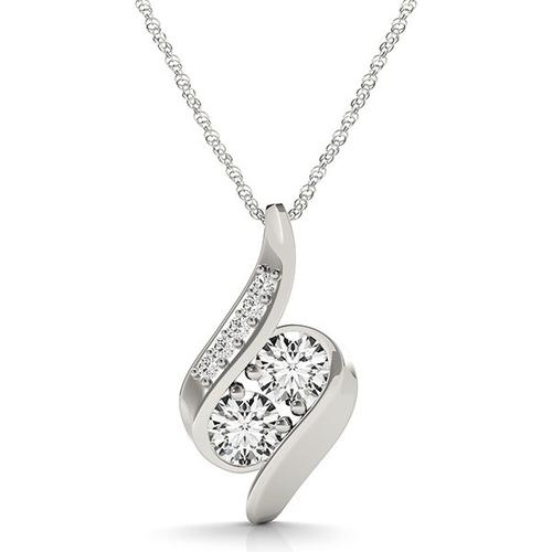 14K White Gold Two Stone Curved Style Diamond Pendant