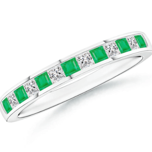 Channel Square Emerald and Diamond Half Eternity Band
