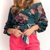 Half Sleeve Basic V Neck Floral Blouse
