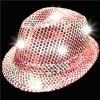 LED Light Up Pink Sequin Fedora Hat